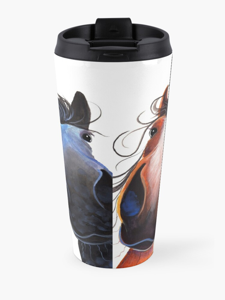 Alternate view of HaPPY HoRSe PRiNT ' WHo LeFT THe GaTe OPeN ? ' BY SHiRLeY MacARTHuR Travel Mug