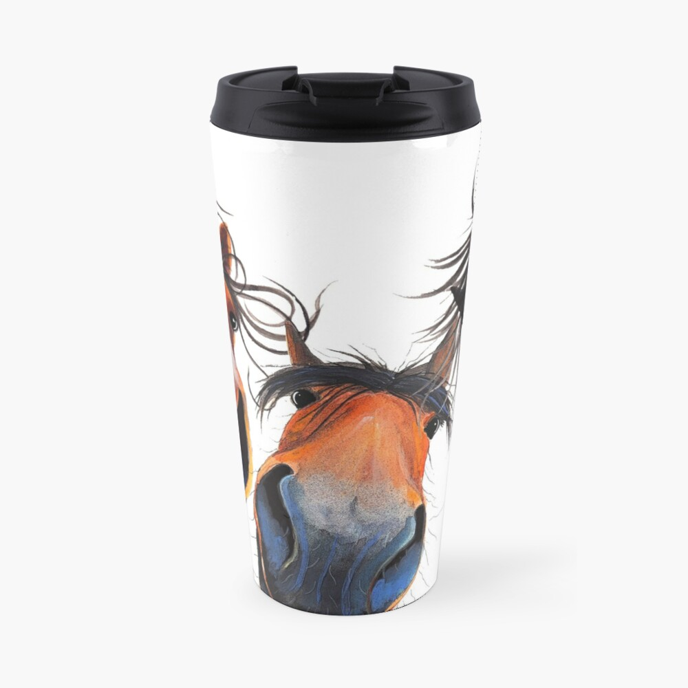 HaPPY HoRSe PRiNT ' WHo LeFT THe GaTe OPeN ? ' BY SHiRLeY MacARTHuR Travel Mug