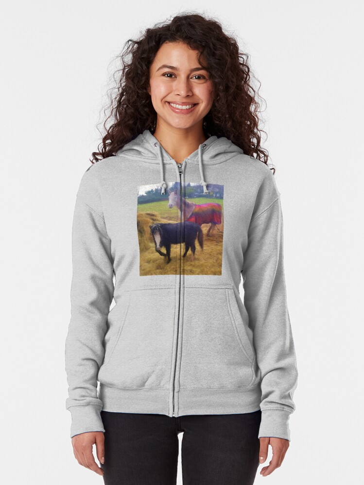 Alternate view of Ponies Zipped Hoodie