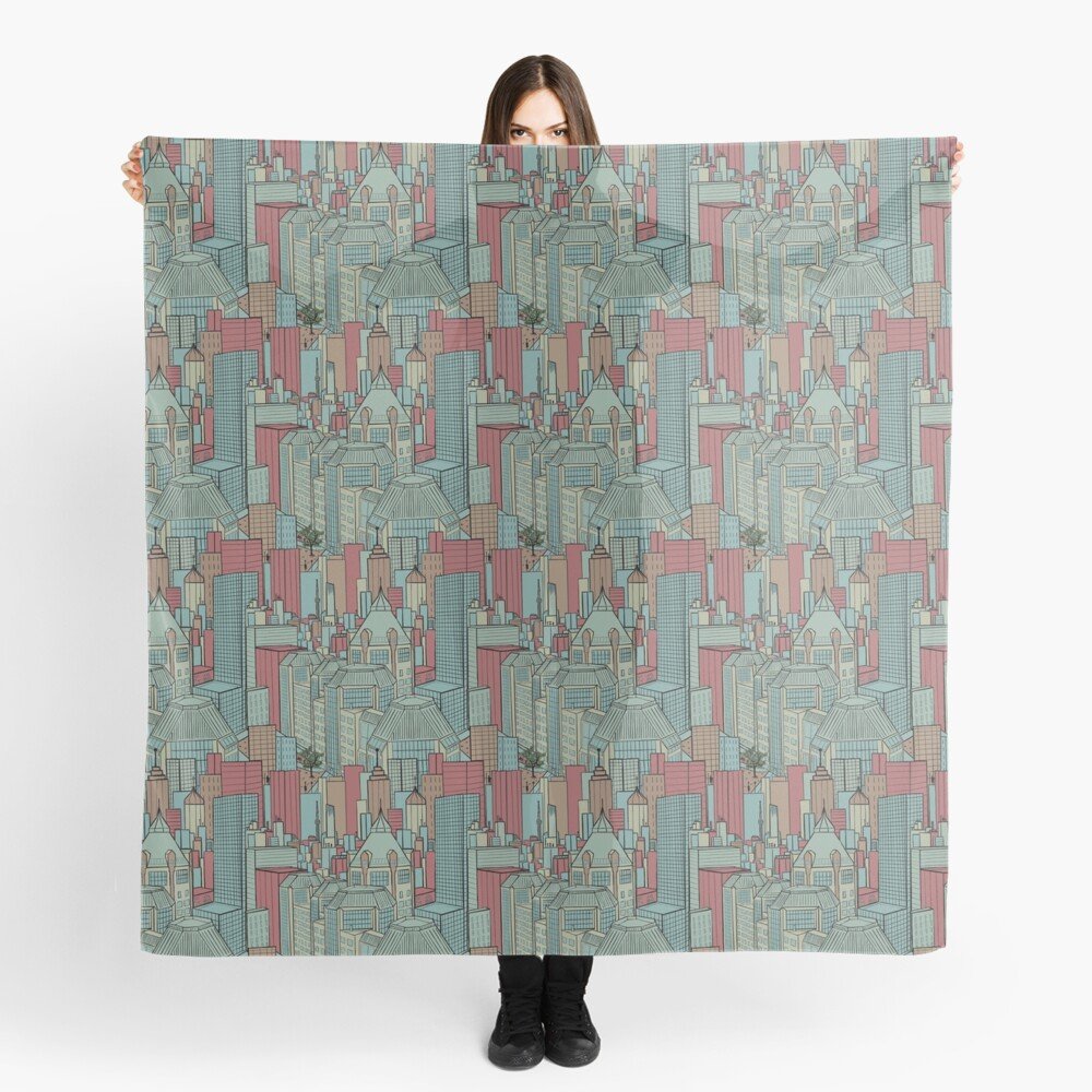 City living in red, beige and teal Scarf
