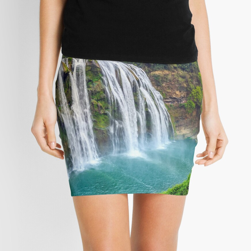 China Waterfall With Mountain Landscape Mini Skirt