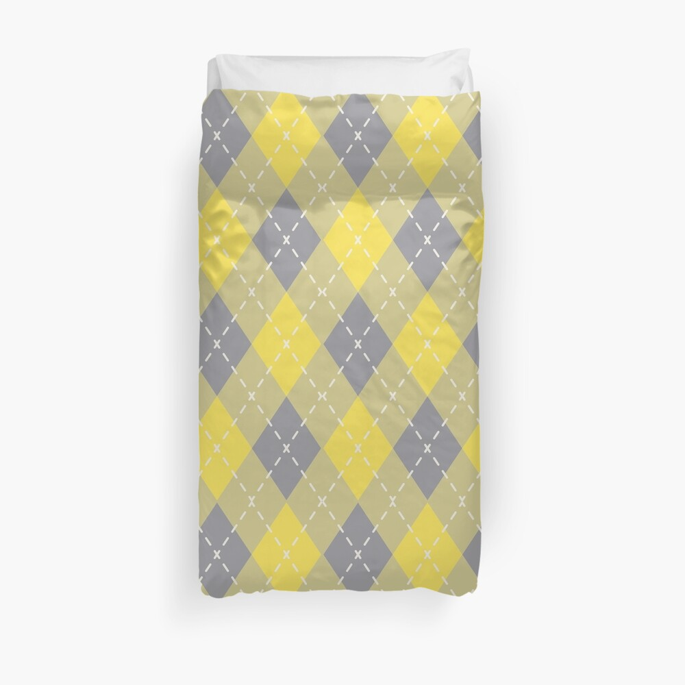 Yellow Gray Yellow-Green Argyle Pattern Pantone 2021 Color of the Years Duvet Cover
