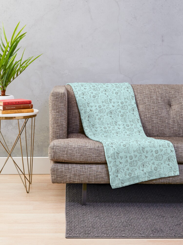 Alternate view of Muffins line art on turquoise  Throw Blanket