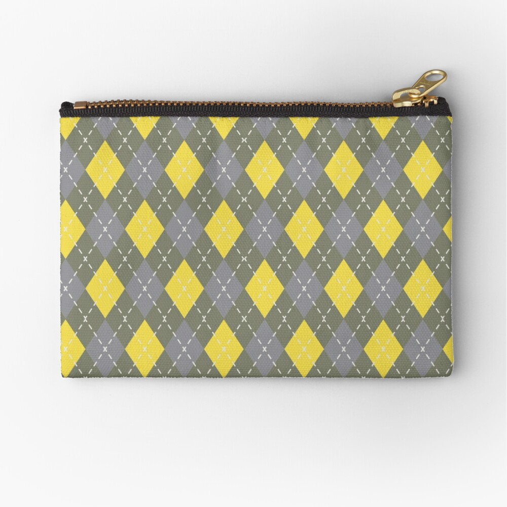 Yellow Gray Green Argyle Pattern Pantone 2021 Color of the Years and Accent Shade Zipper Pouch
