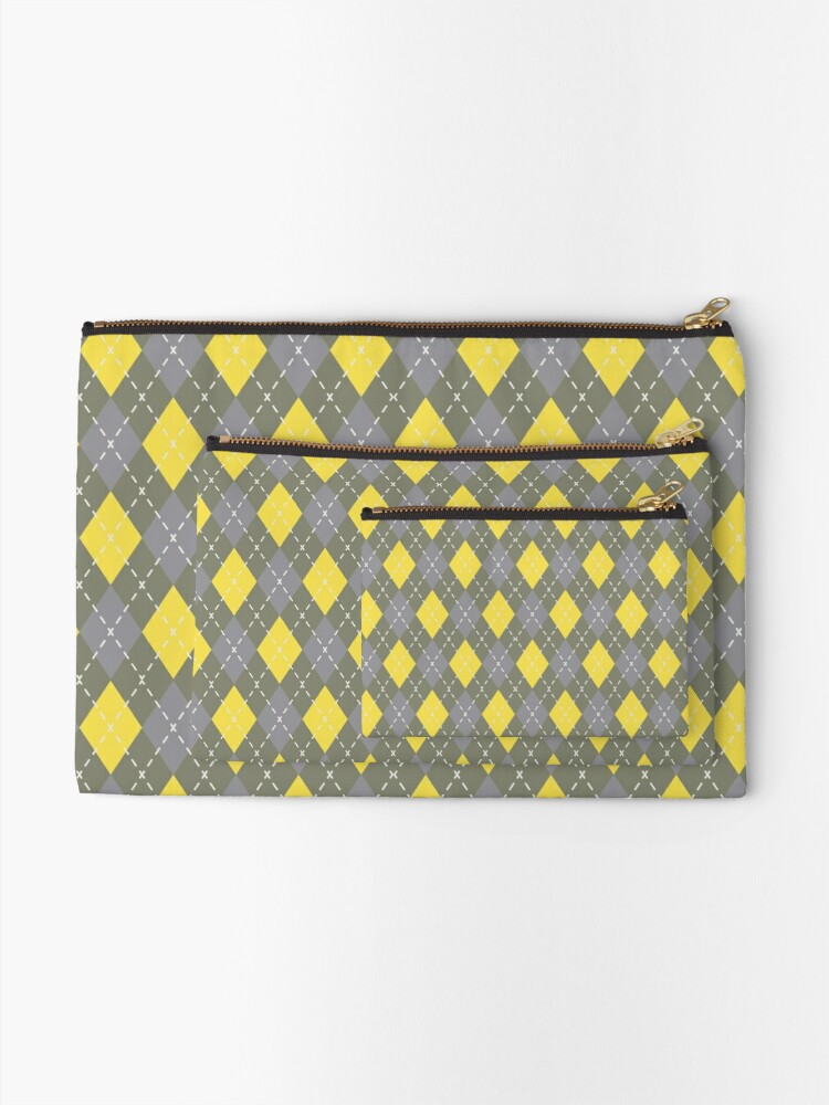Alternate view of Yellow Gray Green Argyle Pattern Pantone 2021 Color of the Years and Accent Shade Zipper Pouch