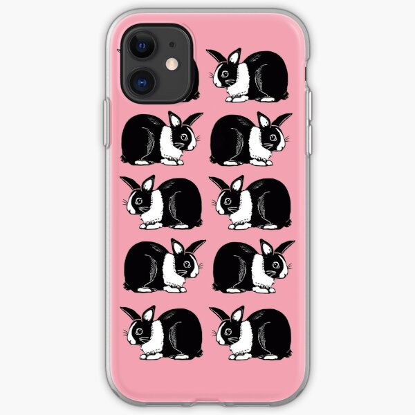 Black and White Dutch Rabbits Pink Pattern iPhone Soft Case
