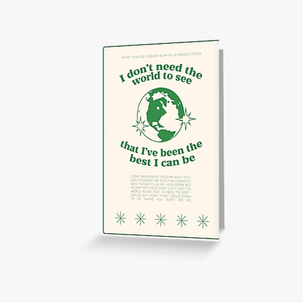 Francis Forever Lyrics Poster Greeting Card