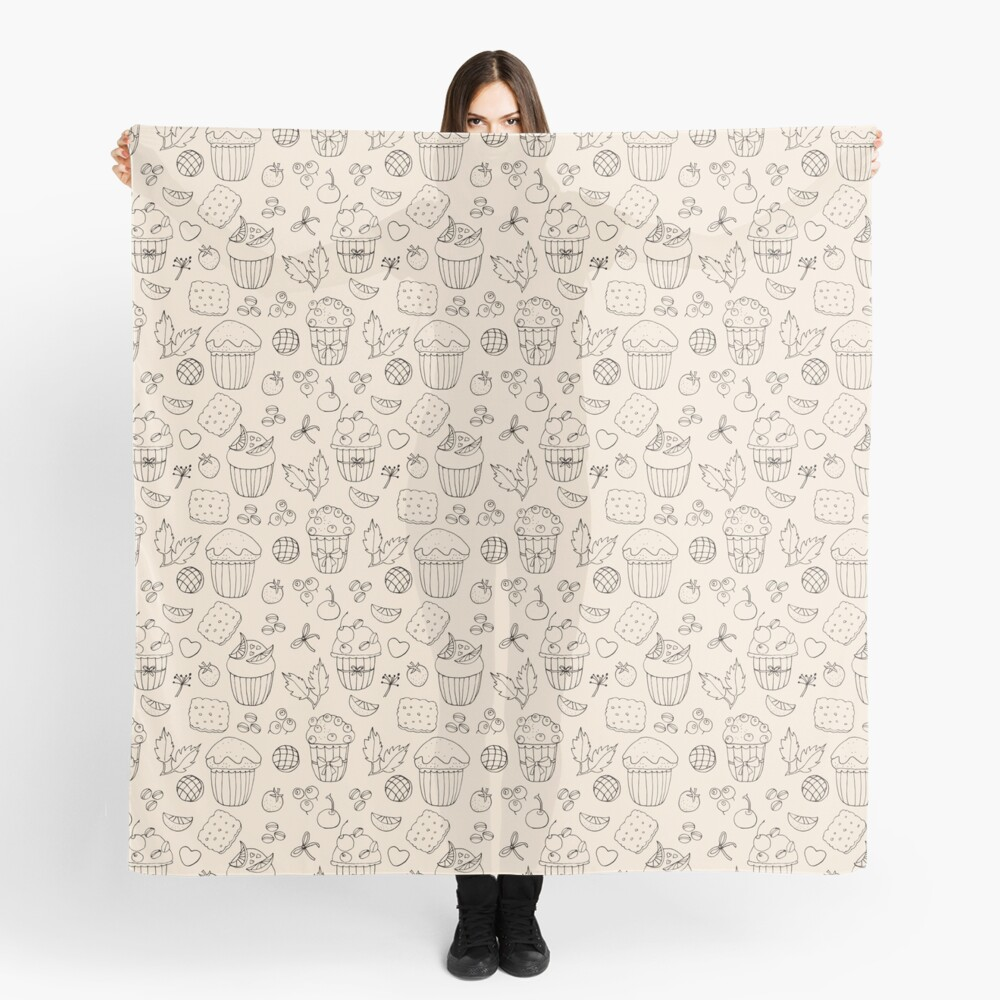 Muffins line art on champagne  Scarf