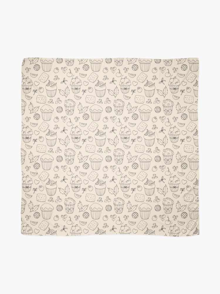 Alternate view of Muffins line art on champagne  Scarf