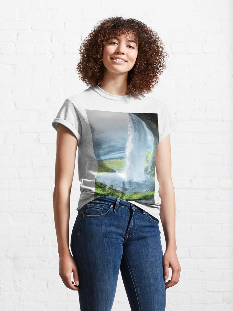 Alternate view of Iceland Waterfall Landscape Classic T-Shirt