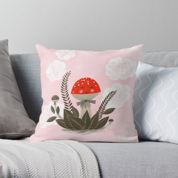 red mushroom in pink sky clouds illustration Throw Pillow