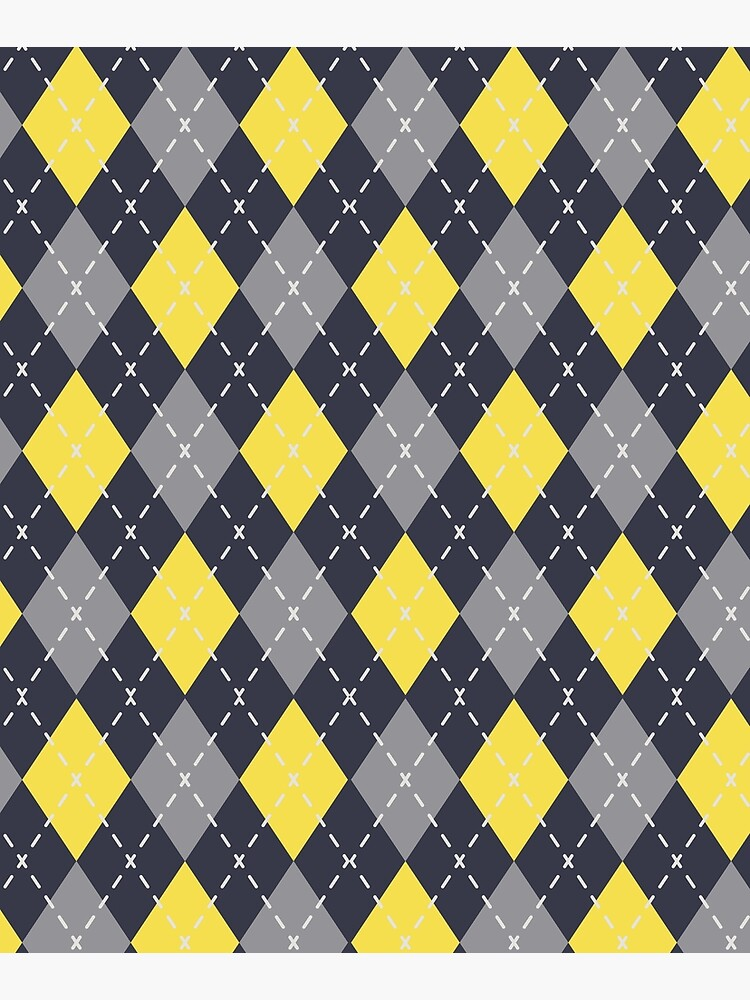 Yellow Grey Navy Blue Argyle Pattern Pantone 2021 Color of the Years and Accent Shades by PetitePatterns