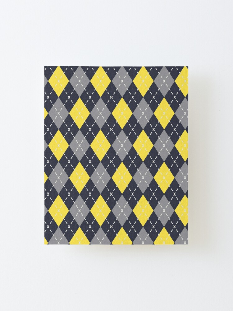 Alternate view of Yellow Grey Navy Blue Argyle Pattern Pantone 2021 Color of the Years and Accent Shades Mounted Print