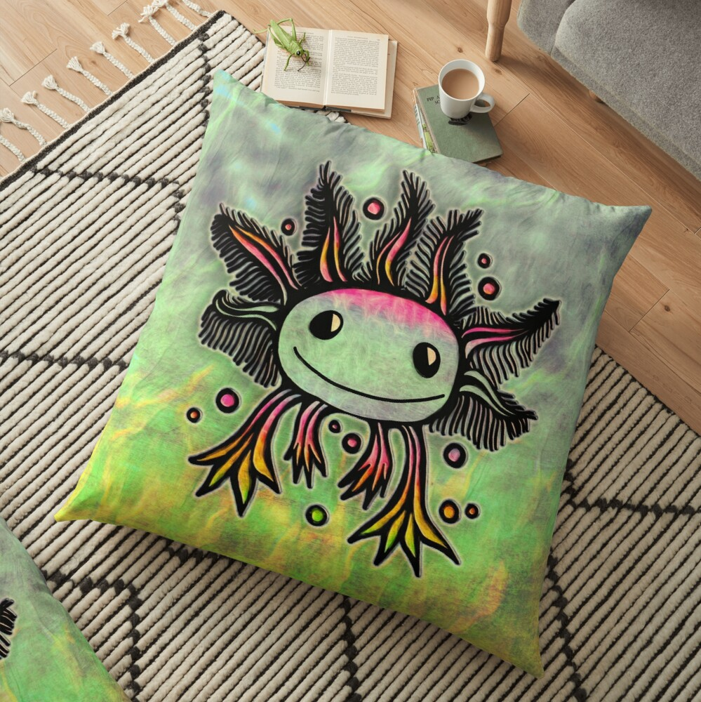 Axolotl, kawaii, cute, exotic, animal Floor Pillow