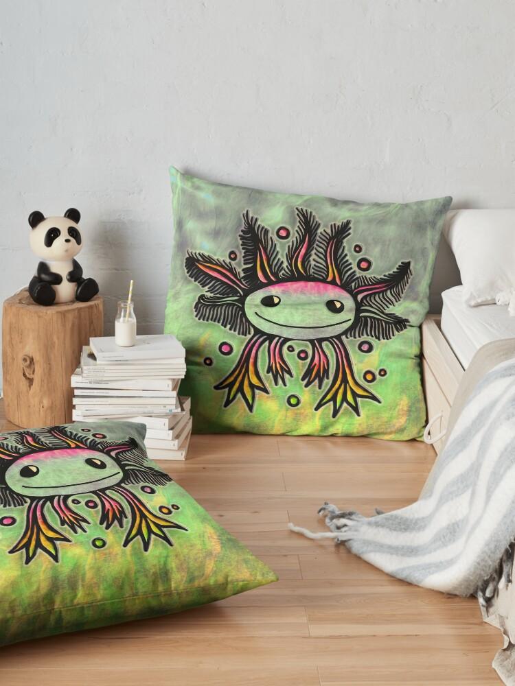Alternate view of Axolotl, kawaii, cute, exotic, animal Floor Pillow