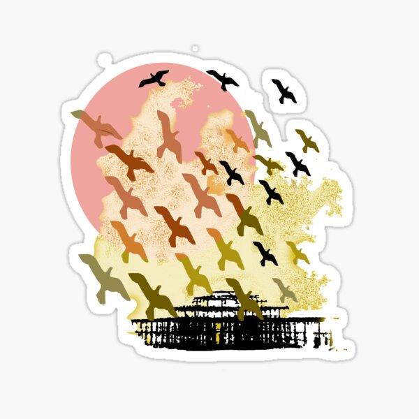 Birds over the pier Sticker