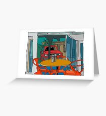 Cafe Window Reflection Greeting Card