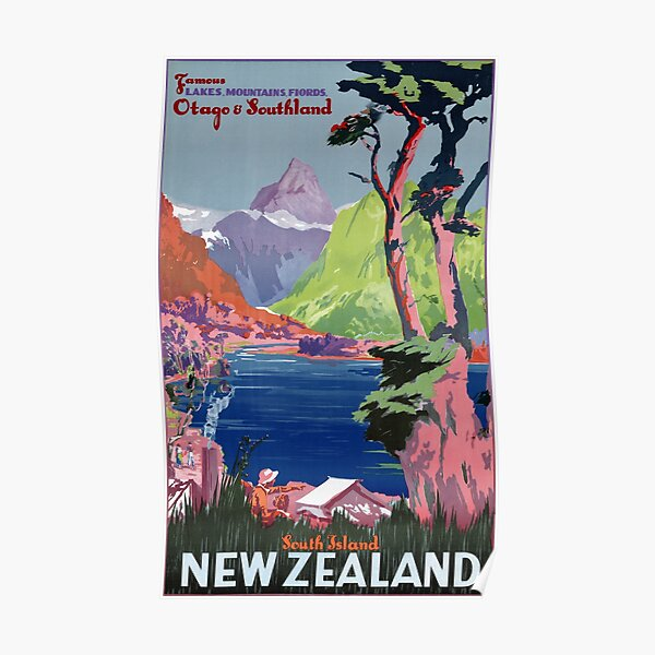 South Island New Zealand Vintage Poster Poster