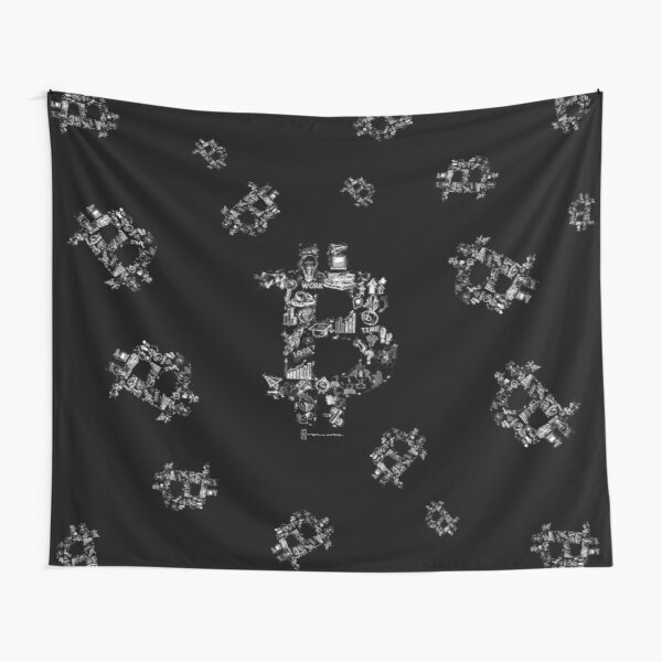 Bitcoin infographic logo in white on black background. Tapestry