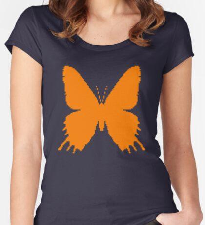 8-bit Simplex pixel Orange butterfly Fitted Scoop T-Shirt