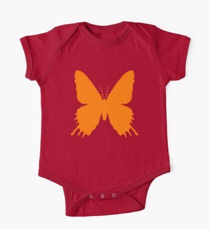8-bit Simplex pixel Orange butterfly Kids Clothes