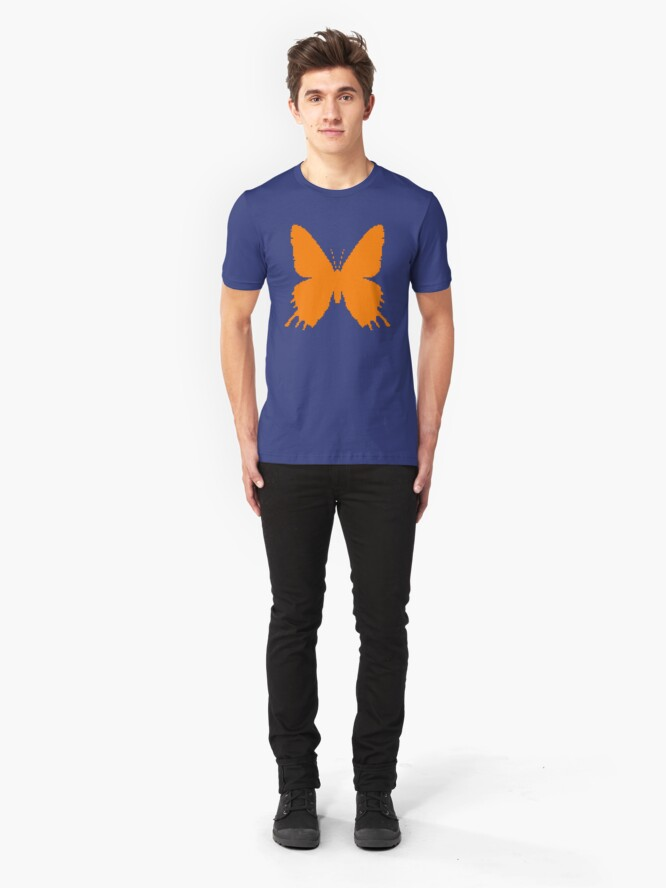 Alternate view of 8-bit Simplex pixel Orange butterfly Slim Fit T-Shirt