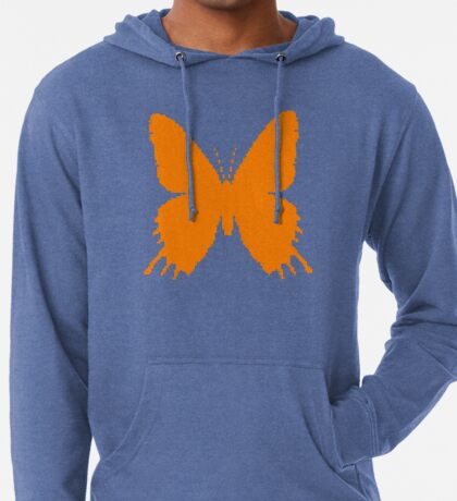 8-bit Simplex pixel Orange butterfly Lightweight Hoodie