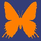 8-bit Simplex pixel Orange butterfly by blackhalt
