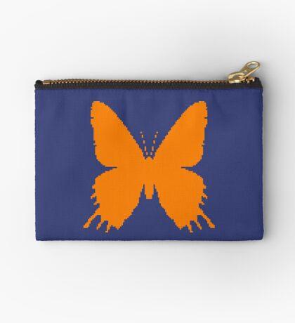 8-bit Simplex pixel Orange butterfly Zipper Pouch
