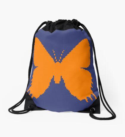 8-bit Simplex pixel Orange butterfly Drawstring Bag