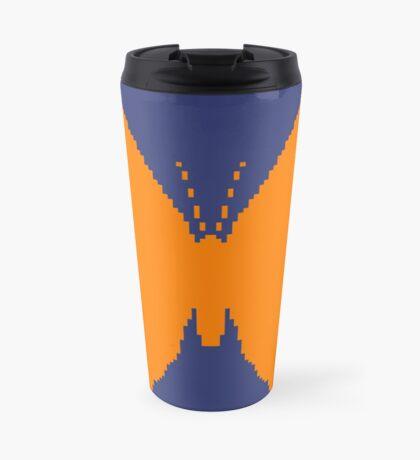 8-bit Simplex pixel Orange butterfly Travel Mug