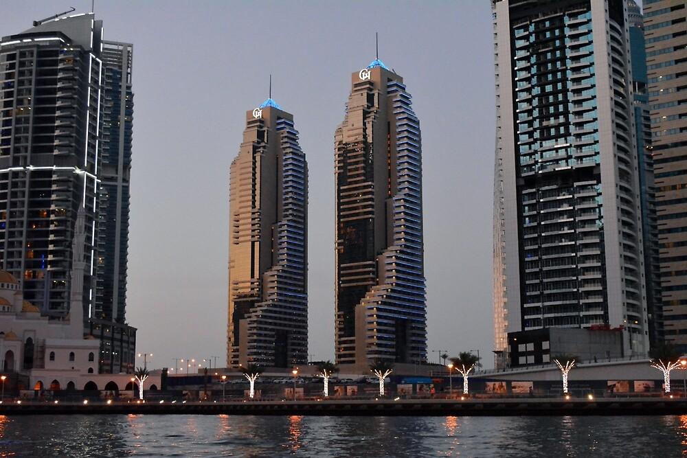 Photography of tall buildings from Dubai Marina, UAE. by oanaunciuleanu