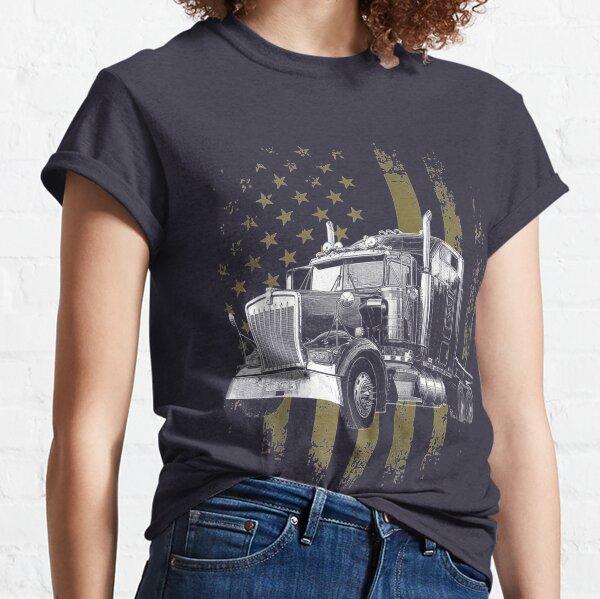 Trucker American Flag Big Rig Semi Trailer Truck Classic T-Shirt
