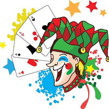 Smiling joker with cards by eszadesign