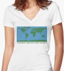 The World's Greatest Planet On Earth - ONE:Print Women's Fitted V-Neck T-Shirt