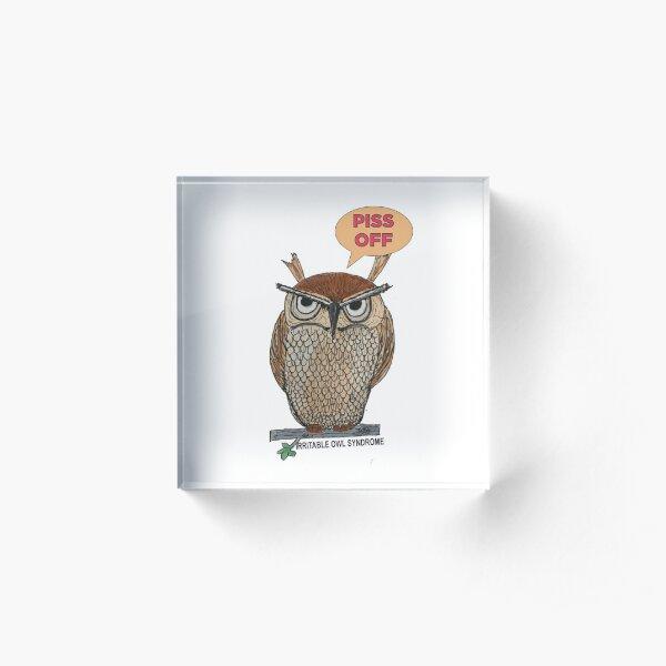 Irritable Owl Syndrome, Osbert Owl, Bird, bird of prey Acrylic Block