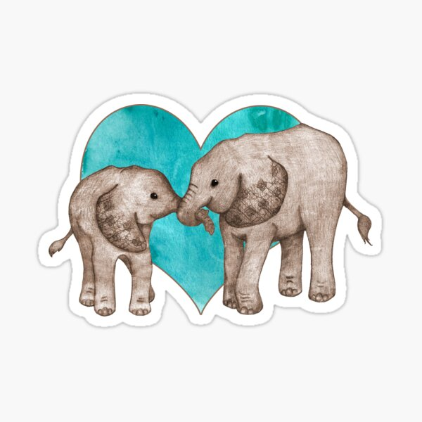 Baby Elephant Love - sepia on teal watercolour Sticker