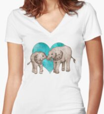 Baby Elephant Love - sepia on teal watercolour Women's Fitted V-Neck T-Shirt