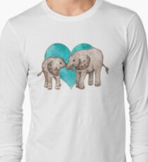 Baby Elephant Love - sepia on teal watercolour Long Sleeve T-Shirt