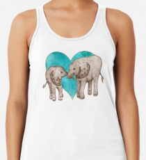 Baby Elephant Love - sepia on teal watercolour Women's Tank Top