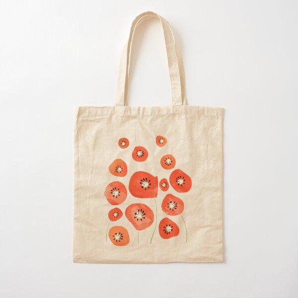 Poppies pattern love - Minimal poppies pattern Cotton Tote Bag