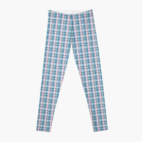 Trans flag pink, blue and white check pattern Leggings