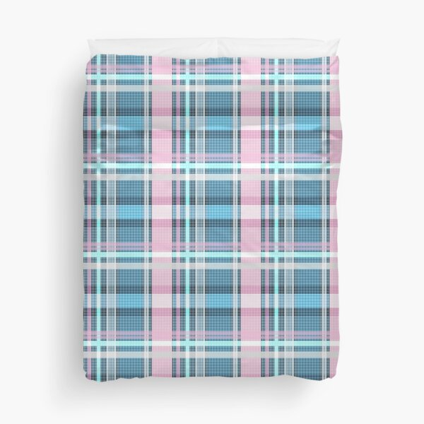 Trans flag pink, blue and white check pattern Duvet Cover