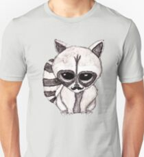 Adorable Watercolor Raccoon with Painted Mustache T-Shirt