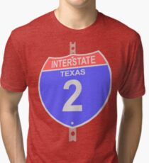 Interstate highway 2 road sign in Texas Tri-blend T-Shirt