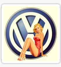 Retro VW Chick Sticker