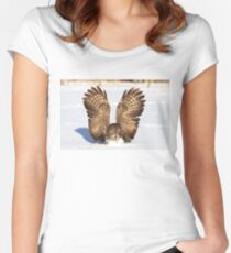 Caught - Great Grey Owl Women's Fitted Scoop T-Shirt
