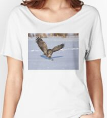 Great Grey owl catches a mouse Women's Relaxed Fit T-Shirt
