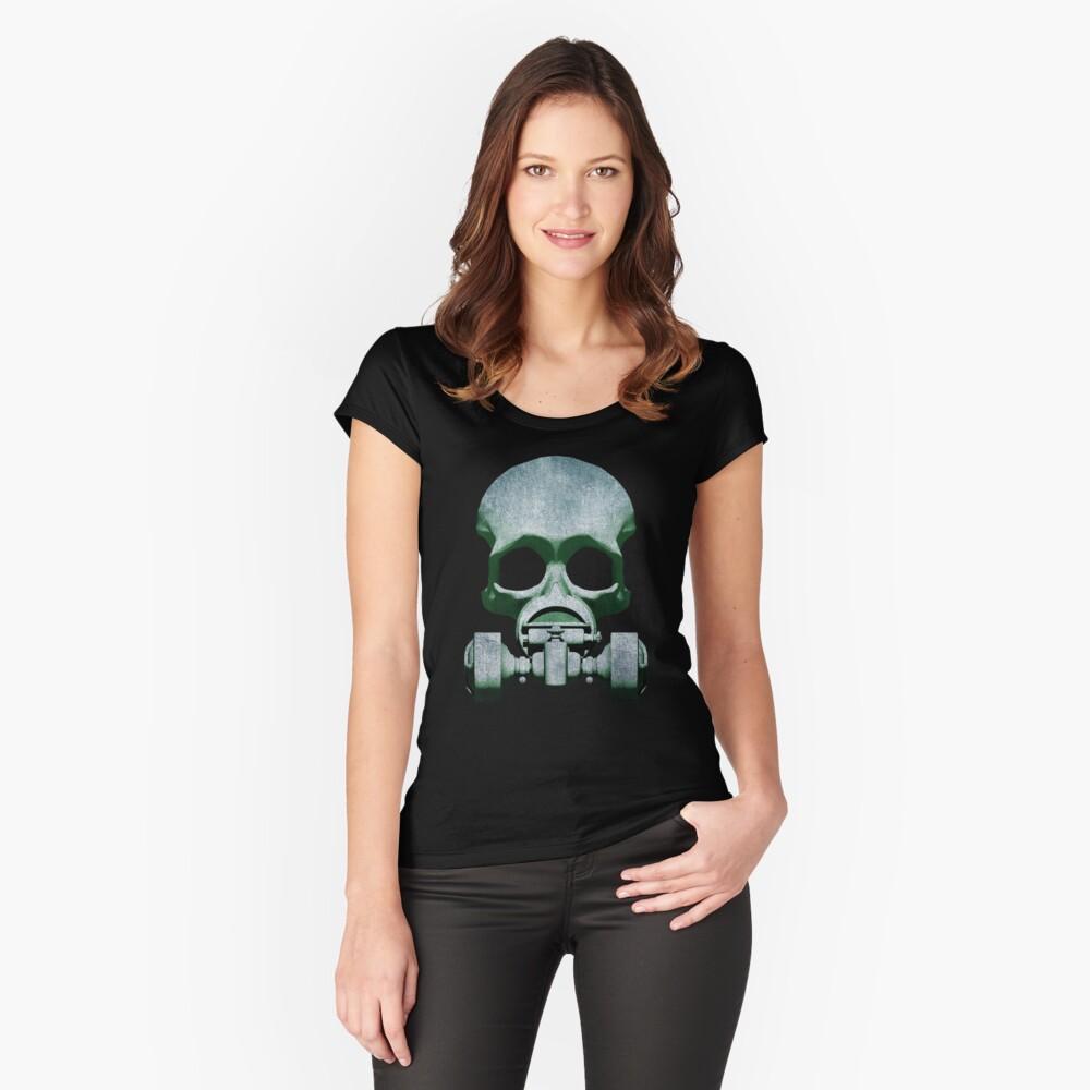 Steampunk / Cyberpunk Skull Gas Mask Women's Fitted Scoop T-Shirt Front