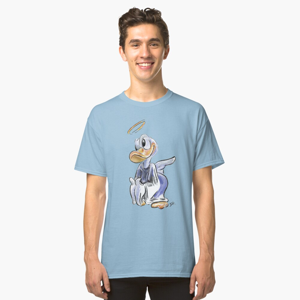 Charcoal and Oil - Angel Donald Duck Classic T-Shirt Front